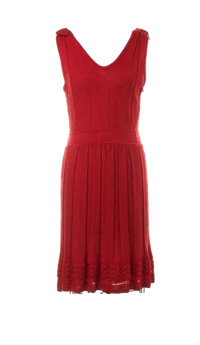 V-Neck Sheath Knit Wool Dress- M MISSONI
