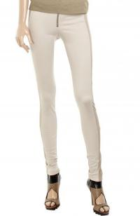 Alice + Olivia Beige Leather-trimmed Jersey Pants Angle3