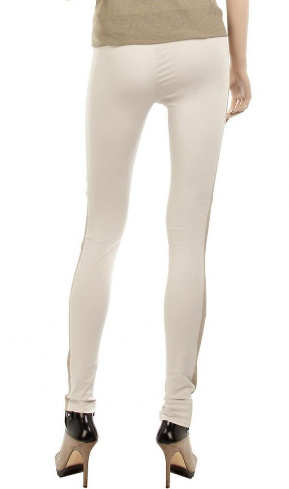Alice + Olivia Beige Leather-trimmed Jersey Pants