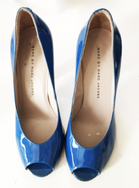 Blue Patent Leather Peep-Toe Heels