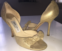 Jimmy Choo Gold Open-Toe Pumps