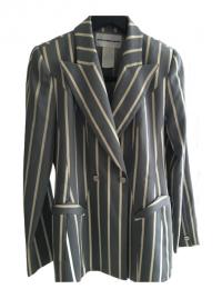 Gorgeous Blue Stripe Thierry Mugler Jacket Angle1