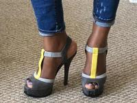 Fendi Color Block T Strap Suede Sandals