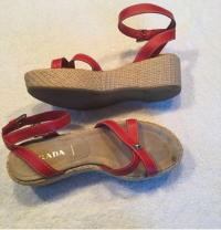 Prada red wedges