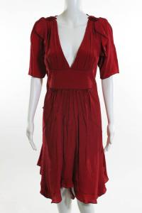 Zac Posen Red Silk Empire Waist Dress