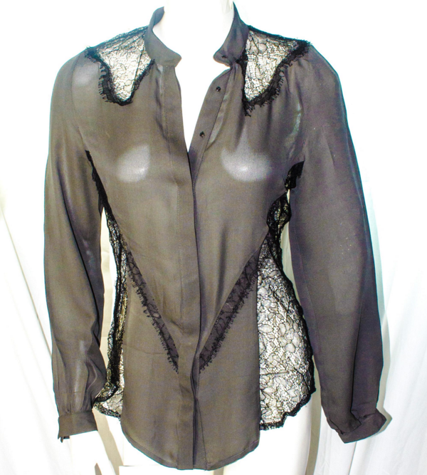 Haute-Hippie lace and silk blouse