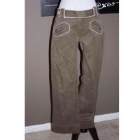 Brown Cotton Pant with White Piping