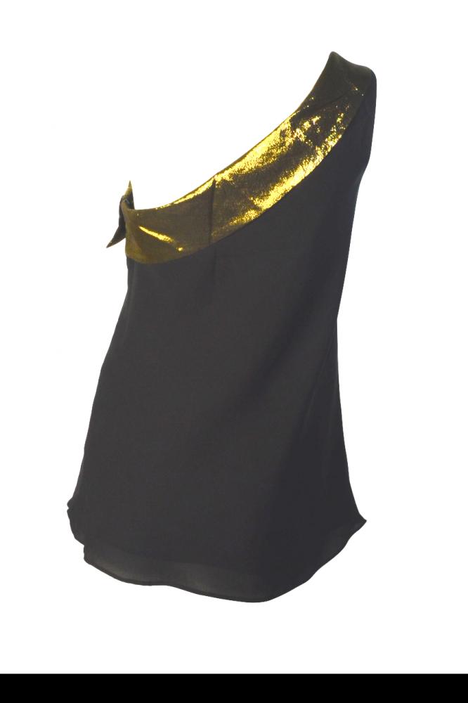 Tibi asymetric silk top