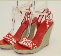 Red and White DVF Wedge