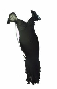 Black flounce DVF dress
