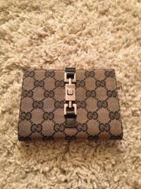 Gucci Beige/Black GG Fabric Wallet