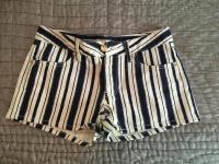 Tory Burch denim shorts in navy and cream