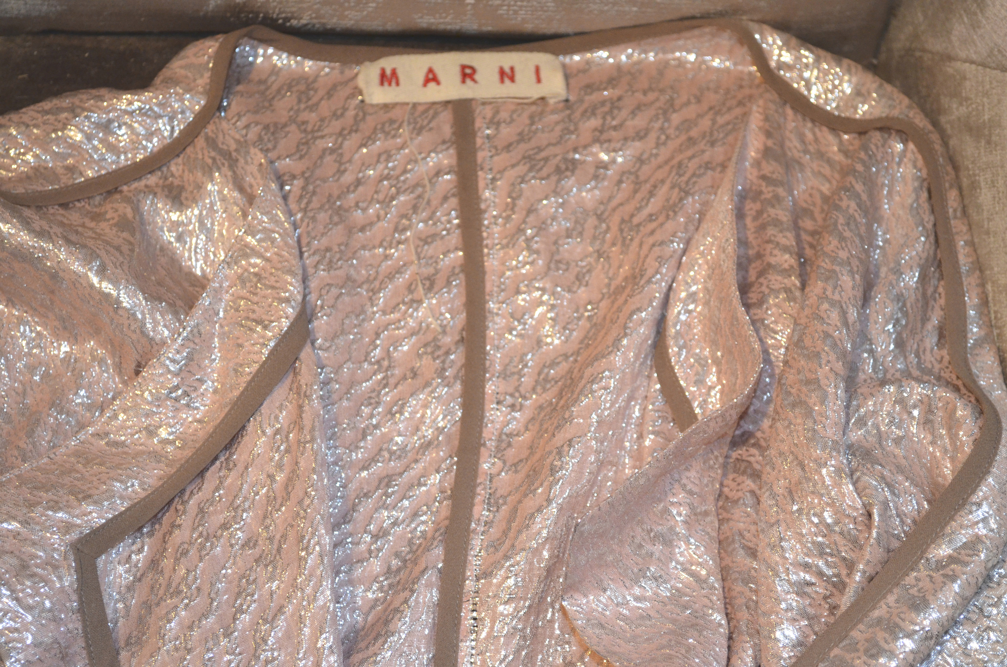 Marni pink lam'e Double Breasted Wrap