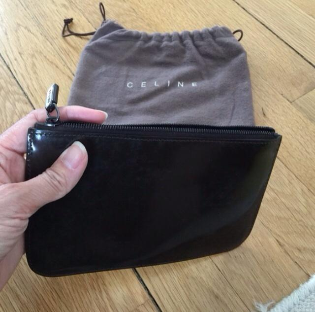 CELINE FUR PATENT LEATHER CLUTCH