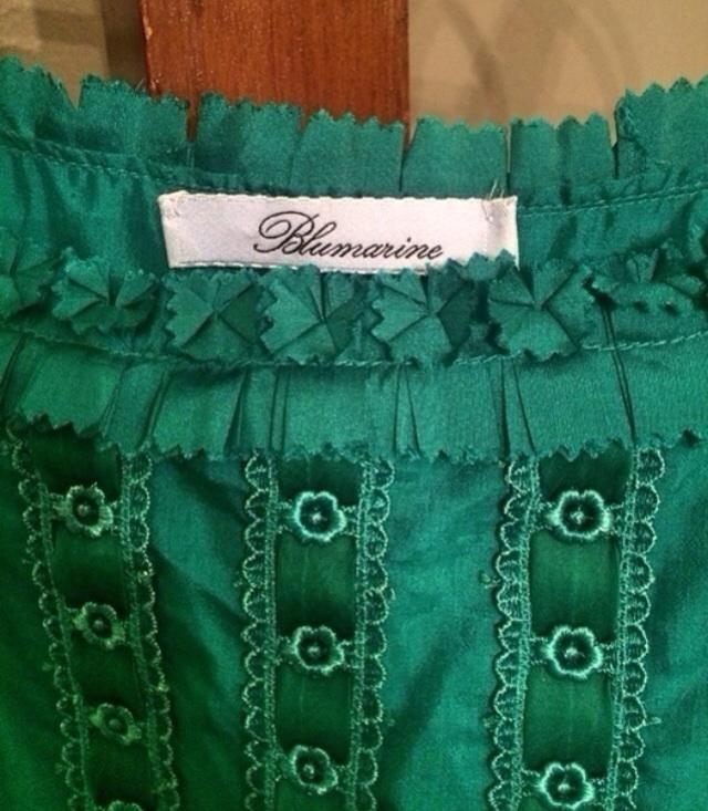 BLUMARINE TEAL ROSETTE SILK DRESS