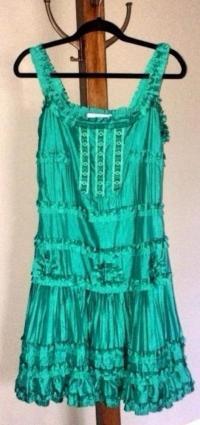 BLUMARINE TEAL ROSETTE SILK DRESS Angle2