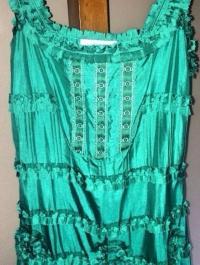 BLUMARINE TEAL ROSETTE SILK DRESS Angle3