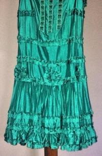 BLUMARINE TEAL ROSETTE SILK DRESS Angle4