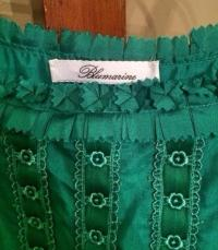 BLUMARINE TEAL ROSETTE SILK DRESS Angle5