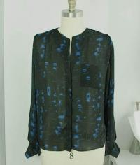 Parker blue and black silk blouse  Angle4