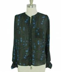 Parker blue and black silk blouse