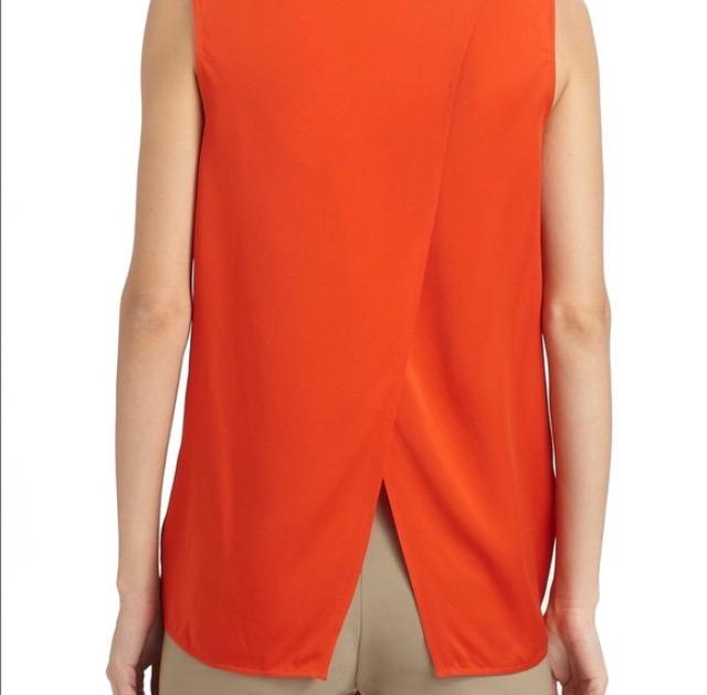 Vince Orange Silk Cross-back Tank Top
