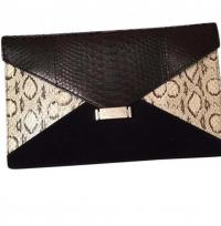 C�line clutch black/white snake leather suede