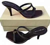 Like New SERGIO ROSSI Dark Brown Heeled Sandals