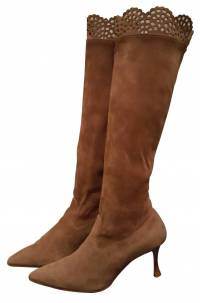 Laser-cut Pointed Toe Suede Knee High Boots