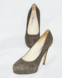 Brian Atwood suede gray  pumps