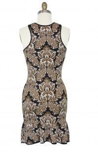 Damask print fitted dress Angle2
