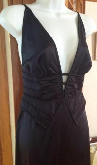 Silk Peplum Plunging V Evening Gown Angle2