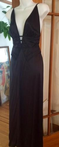 Silk Peplum Plunging V Evening Gown Angle1