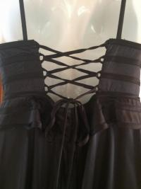 Silk Peplum Plunging V Evening Gown Angle3