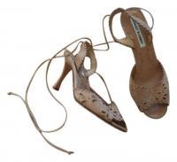 Cutout Tie-up Tan Sandals