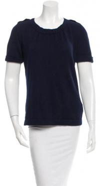Navy Rib Knit Scoop Neck Top