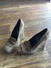 Balenciaga Suede Loafer Wedges