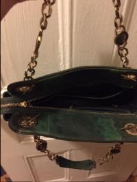 Bvlgari Leather Bag with Gold Accents Angle2