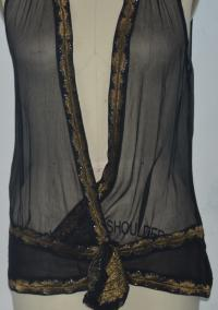 Black sheer wrap top w/gold Angle4