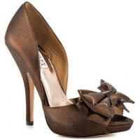 Badgley Mischka bronze bow pump
