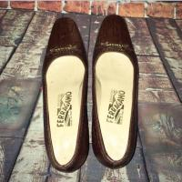 Ferragamo Brown Reptile Buckle Flats
