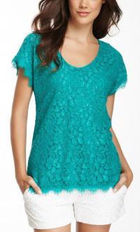 Diane von Fustenberg Cholula Green Lace Blouse Top