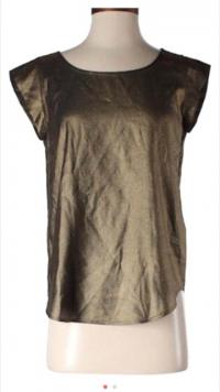 Joie Rancher Bronze Metallic Black Silk Top S