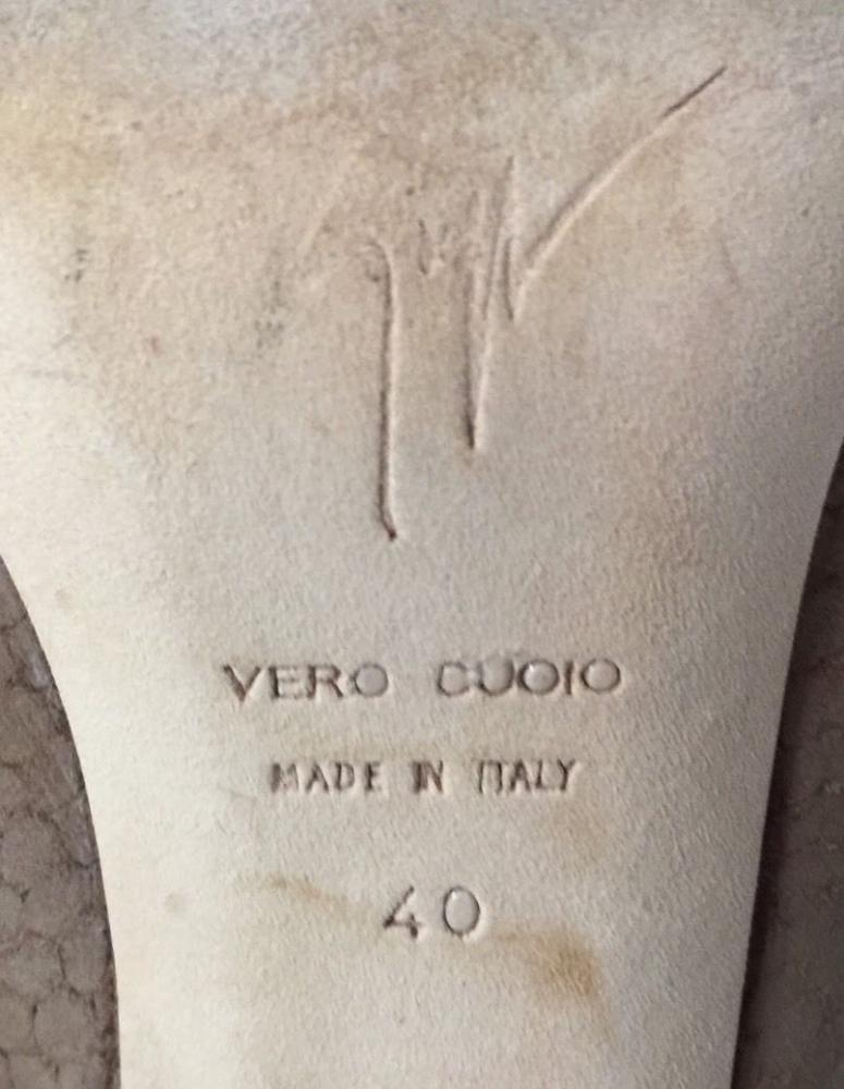Giuseppe Zanotti tan snake print suede slingbacks