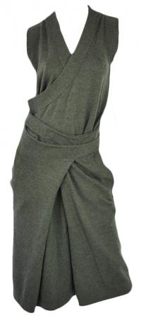 Chloe wool green wrap dress runway Angle1