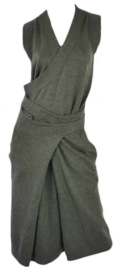 Chloe wool green wrap dress runway