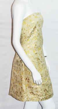 RED Valentino Gold Dress Size 12 Angle2