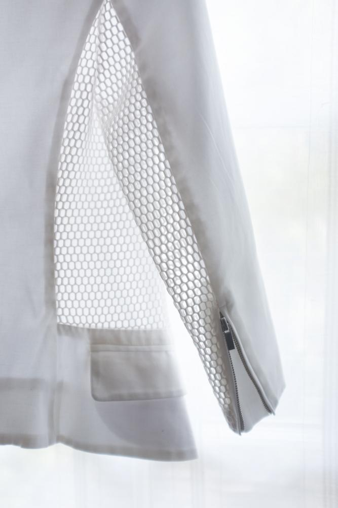 Spring Perforated-Panel Twill Jacket