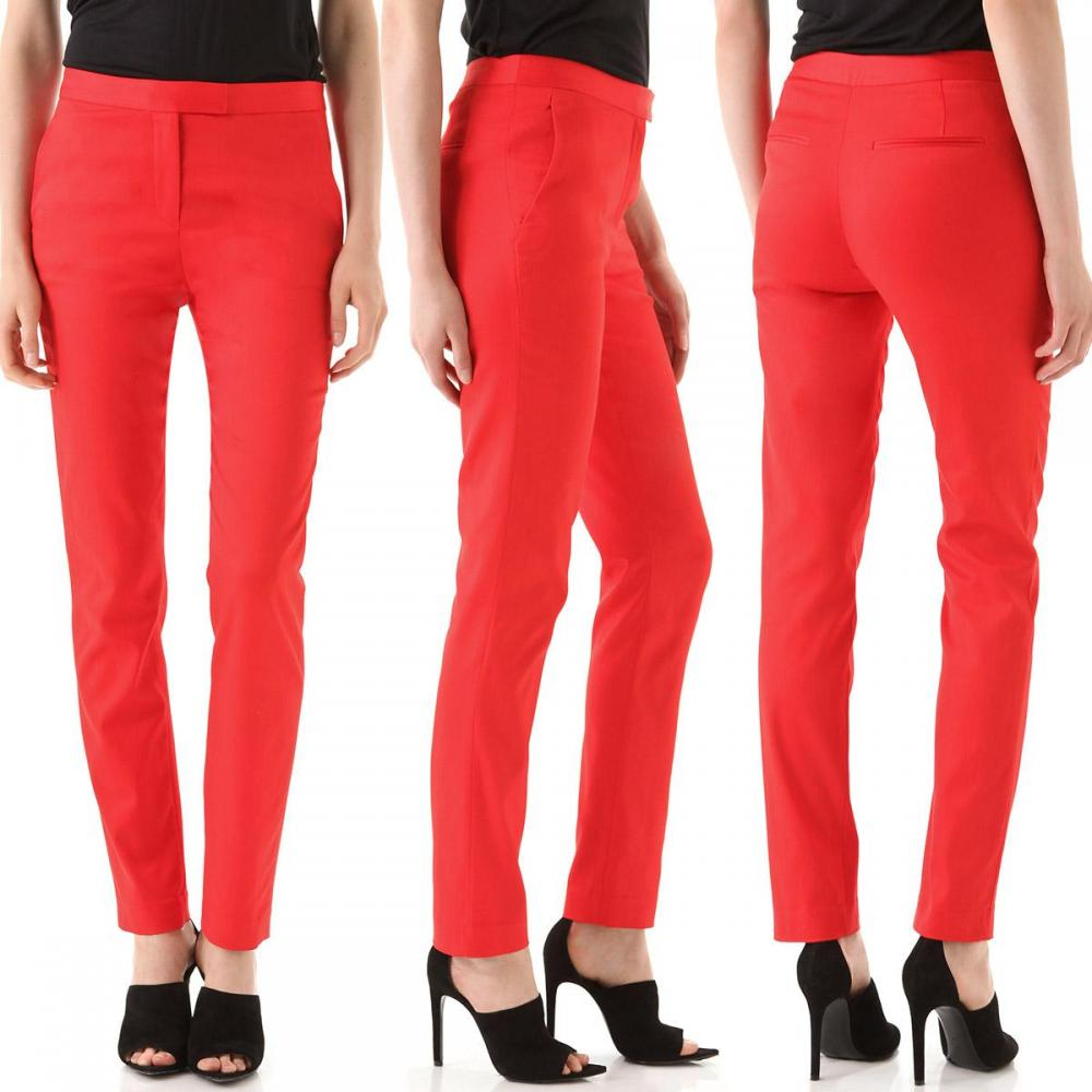 Cropped Stretch Twill Trousers in Cayenne