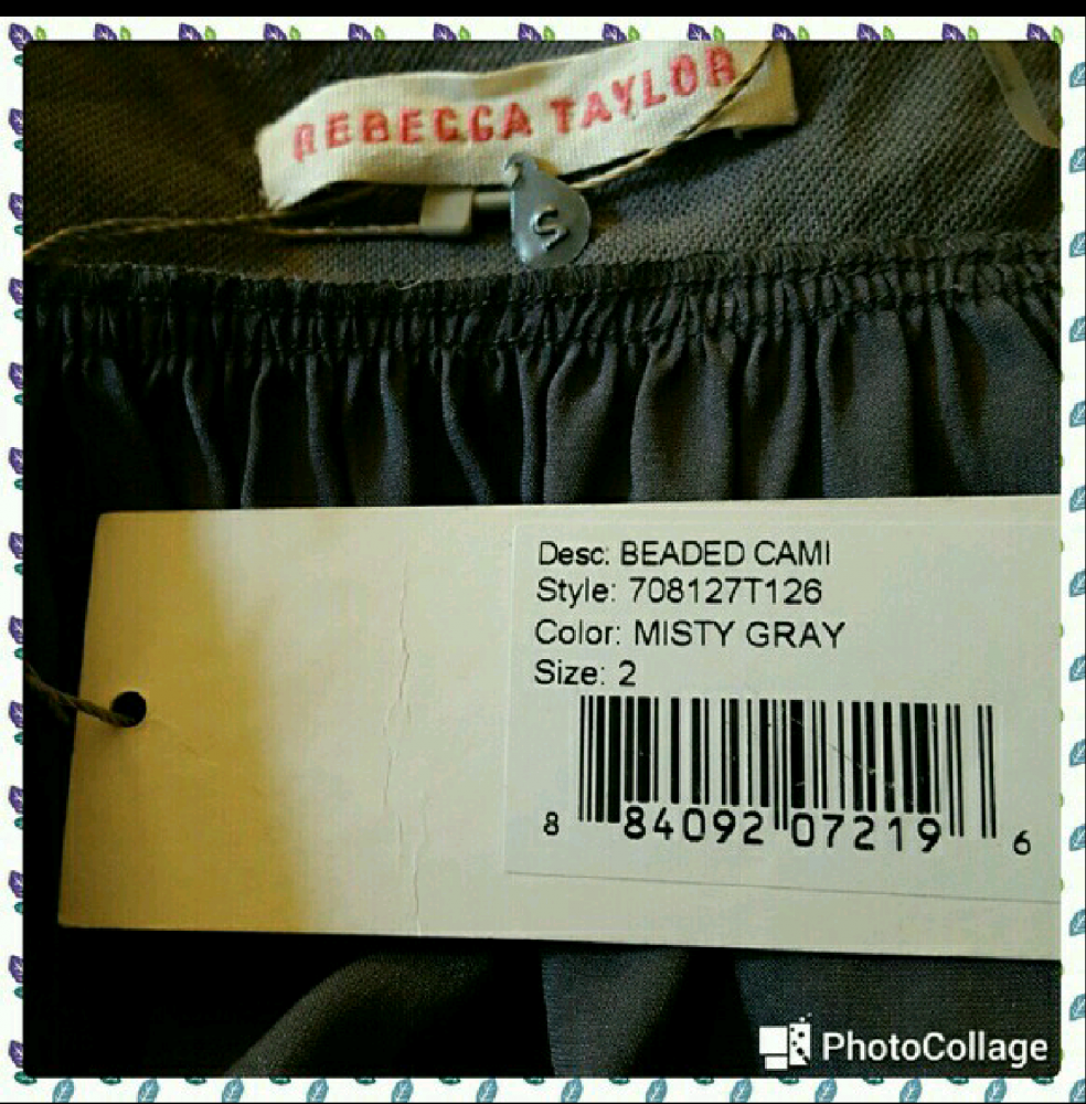 NWT.  Rebecca Taylor Beaded Silk Cami Top